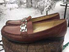 Cole Haan Women's Brown Loafers With Silver Chain Link Buckle Size 7.5B D20972