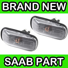 Saab 9000, 900, 9-3, 9-5 Clear Wing Indicator Lamp / Light / Lens (Pair)