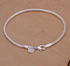 Promotion Price 925Sterling Silver Lovely Snake Chain Bracelet 3MM 20CM HLB187