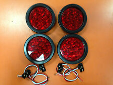 "(4) Red 10 LED 4"" Round Truck Trailer Brake Stop Turn Tail Lights"