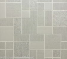 Grey & Cream with Silver Glitter, Tiling on a Roll, Kitchen/Bathroom Wallpaper