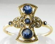 "CLASS 9CT 9K GOLD BLUE SAPPHIRE & DIAMOND ""FAN"" ART DECO VICTORIAN INS RING"