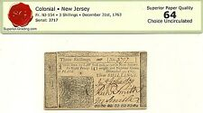 1763 NEW JERSEY 3 SHILLINGS COLONIAL CURRENCY NOTE - CHOICE CRISP UNCIRCULATED