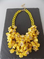 Chunky Yellow Floral Beaded Statement Necklace -UK SELLER