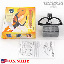 Professional Jeweler's LED Lighted Repair Magnifier Visor 5 Lenses 1.0x - 3.5x