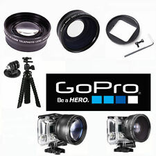 FISHEYE LENS + 2X ZOOM LENS + TRIPOD FOR GOPRO HERO4 HERO3 FITS ALL GOPRO HERO