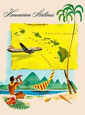 Hawaii Hawaiian Airlines Beach United States America Travel Advertisement Poster