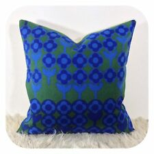 Vintage 60s Heals Peter Hall Verdure Cotton Fabric Cushion Cover Blue Green