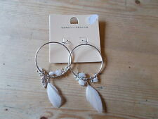 Dorothy Perkins Feather Hoop Earrings 1 PAIR White/Silver Mix BNWT