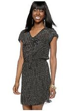 Sophie Max Studio NADIA Black/White Polka Dot w/Bow Chiffon Dress, S - MSRP $128