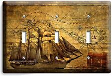 PIRATE SHIP OLD TREASURE MAP TRIPLE LIGHT SWITCH COVER BOYS BEDROOM ROOM DECOR