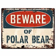 PP1822 Beware of POLAR BEAR Plate Rustic Chic Sign Home Store Wall Decor Gift