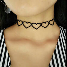 Gothic Punk Black Velvet Hollow Heart Choker Pendant Chain Necklace Jewelry Gift