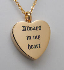 ALWAYS IN MY HEART CREMATION JEWELRY GOLD HEART URN NECKLACE MEMORIAL KEEPSAKE