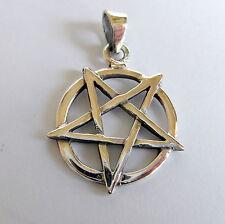Argento Sterling (925) a testa in giù Pentagramma Ciondolo ( 18 mm ) Nuova