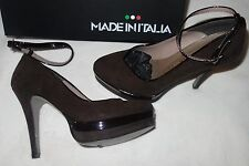 Made in Italia Platform Pumps dark brown Suede shoes  Size 35 us 4.5 new