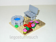 NEW LEGO Castle Village city center wishing well park bench flower garden figure