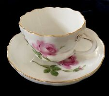 MEISSEN THE ROSE PATTERN TEA CUP IN ROYAL FLUTE SHAPE & SAUCER W/GOLD GILDING #3