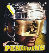 True Vintage 90s Pittsburgh Penguins NHL Hockey Puck Graphic Black T-Shirt L