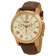 Fossil Grant Chronograph Eggshell Dial Brown Leather Mens Watch FS4991