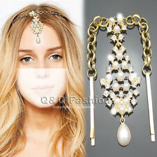 Fab Gold Pearl Crystal Bindi Hair Clip Chain Matha Tikka Patti Indian Head Dress