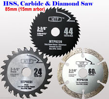 Pack of 3 85mm x 15mm Arbor Saw Blades For Worx WorxSaw Worx WX423 WX426 400W