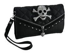 Rhinestone Skull Quilt Stitched Wallet with Removable Straps