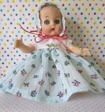 Sweet Blue Floral Dress & Bonnet For Vogue Ginnette Baby 8in Doll