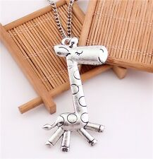Charm Retro Silver Plated Lovely Giraffe Vintage Pendant Long Chain Necklace