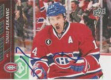 TOMAS PLEKANEC *Signed* MONTREAL CANADIENS 2015-16 UPPER DECK CARD