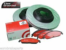 SLOTTED and DRILLED PAIR REAR ROTORS BREMBO BRAKE PADS FALCON BF FG G6E XR6 XR8