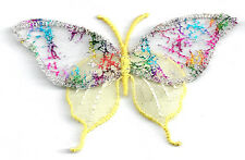BUTTERFLY CONFETTI YELLOW IRON ON APPLIQUE PATCH