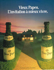 PUBLICITE ADVERTISING 025  1985  VIEUX PAPES   vins