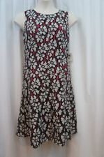Anne Klein Dress Sz 16 Black White Pink Floral Sleeveless Cocktail Dinner Party