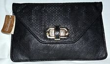 Street Level by Francesca's Black Faux Leather Envelope Style Clutch Bag NWT