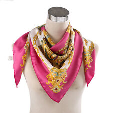 "Women Big Square Silk-like Satin Large Scarf Wrap 35x35"" Floral Print shawl Rose"
