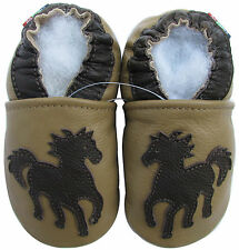 carozoo horse tan 18-24m soft sole leather baby shoes slippers