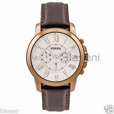 Fossil Original FS4991 Men's Grant Brown Leather Watch 44mm Chonograph
