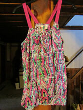 ROUTE 66 WOMANS  SMALL RACER BACK TANK TOP PINK MULTI COLORS LACE STRAPS NWT