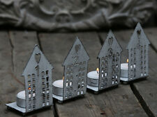 Set of 4 Rustic Metal House Tea Light Candle Holders Christmas Advent Decoration