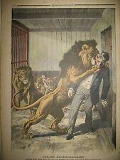 LIONS SUICIDE MENAGERIE LAVAL Gaux LACROIX TREMEAU MILLET LE PETIT JOURNAL 1908