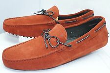 Tod's Mens Orange Shoes Drivers Loafers Slip On Size 8 Suede Braided NIB