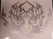 "Tribal Tiger Silver - 8"" x 6"" Custom vinyl car sticker, decals, graphics"