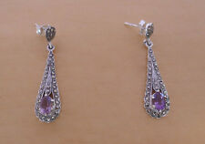 925 Sterling Silver Amethyst & Marcasite Stone Teardrop Drop Stud Earrings