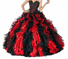 New Red/Black Quinceanera Dresses Ball Prom Formal Evening Wedding Gown Custom