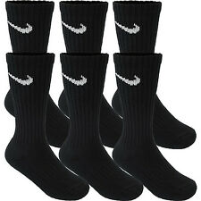 NIKE 6 PAIR 6 PACK NEW SOCKS CREW BLACK MEN'S WOMEN'S PERFORMANCE CUSHIONED