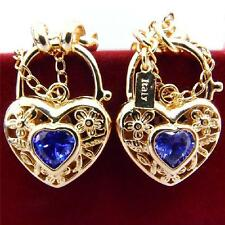 New 14K Yellow Gold Filled Amethyst Filigree Heart Belcher Necklace Bracelet Set