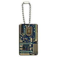 Blue Computer Motherboard - Processor CPU Memory Wood Wooden Rectangle Key Chain