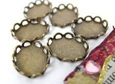 Cameo Settings Antiqued Brass Filigree Lace Edge 10x8mm Cabochons Vintage Style