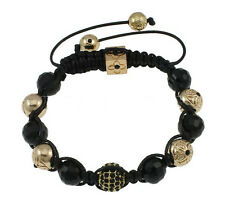 Mens black and gold rhinestone shamballa bracelet good quality 11x 10mm beads
